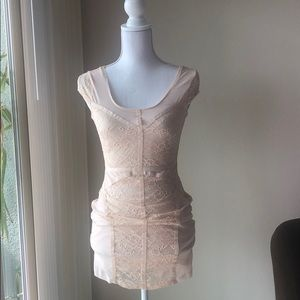 Cap Sleeve Nude Lace Bodycon Mini Dress